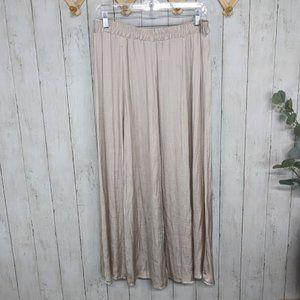 Covington Silvery Cream Flowy Maxi Skirt